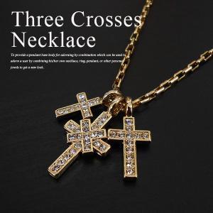 メンズ レディース クロス ネックレス ペンダント ゴールドthree crosses necklace LEON Safari BITTER angelshokora