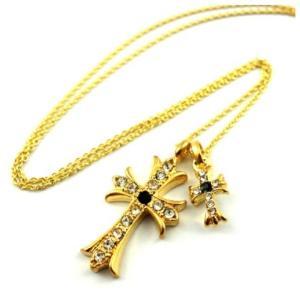 クロムハーツ好きに ゴールドクロス&メッセージプレートネックレス 十字架 メンズ ペア クロス LOVE angelshokora