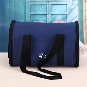 Liebeye ケージ 携帯式 通気性 ポータブル 軽量 ペット犬 猫 キャット キャリア 旅行 トラベル トートバッグ ペット用品 ブルー Lの画像