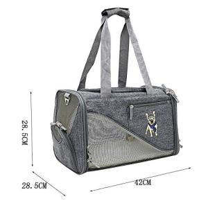 ペットのバックパック携帯用ハンドバッグ通気性メッシュ折りたたみ猫犬キャリングバッグ旅行観察バッグ屋外ケージの画像