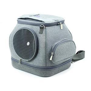 LAADF UzdcG ポート外に持ち運びに便利で小型の携帯用ペットバッグ猫用ケージ犬用バックパック (Color : Gray, Size :の画像