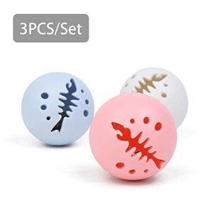 猫おもちゃ ボール ペット 玩具 猫用 コロコロボール キャットニップの鐘 インタラクティブな噛むボール おもちゃ 色のグロー ボールの画像