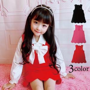 プリム Vネックジャンパースカート 子供服 全3色 ブラック/レッド/ピンク 110cm-150cm 単品ならネコポス可能 [M便1/1]|angelsrobe
