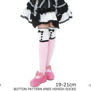 靴下 日本製 ボタン柄 ニーハイソックス 19-21cm 子供服 ピンク 可愛い ニー ハイ ピンク 2足までならネコポス可 返品交換不可|angelsrobe