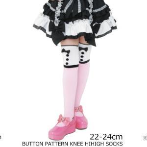 靴下 日本製 ボタン柄 ニーハイソックス 22〜24cm 子供服 ピンク 可愛い ニーハイ ピンク 2足までならネコポス可 返品交換不可|angelsrobe
