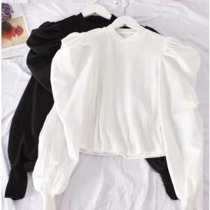 レディース 長袖 トップス ブラウス 黒 白 パフスリーブ ジュリエットスリーブ 韓国 可愛い 大人  春 秋 冬 オルチャン 衣装 返品交換不可|angelsrobe