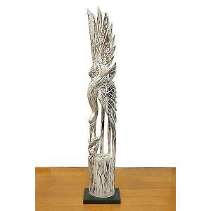 木彫り 木製 鶴 インテリア 白鳥 鳥 鶴 オブジェ 100cm Lサイズ ホワイト アジアン バリ タイ 雑貨 エスニック|angkasa