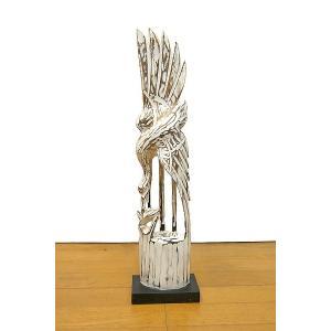 木彫り 木製 鶴 インテリア 白鳥 鳥 鶴 オブジェ 64cm Sサイズ ホワイト アジアン バリ タイ 雑貨 エスニック|angkasa