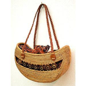 アタバッグ ショルダー ship M ココナッツの飾り 編込革紐 茶と紺のバティック アジアン雑貨 バリ雑貨 タイ雑貨 エスニック|angkasa