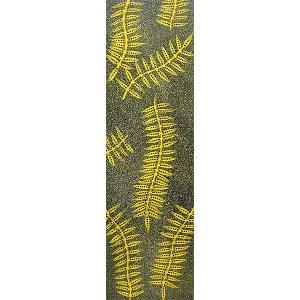 バリアート ドットペイントアート 縦 黒・黄色系黄緑・白・茶 [100cmx30cm] アジアン雑貨 バリ雑貨 |angkasa