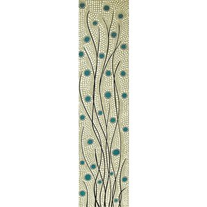 バリアート ドットペイントアート 縦 白・グレー・青緑 お花 [120cmx30cm] アジアン雑貨 バリ雑貨 |angkasa