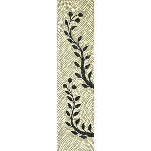 バリアート ドットペイントアート 縦 白・グレー・黒・茶 リーフ [120cmx30cm] アジアン雑貨 バリ雑貨 |angkasa