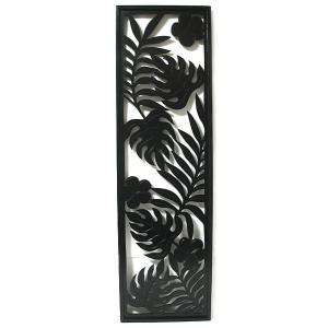 壁掛け木彫りのレリーフ B プルメリアとバナナリーフ ブラック120  [H.120.5cmx35cm] おしゃれな 壁掛け エスニック アート パネル レリーフ アジアン雑貨|angkasa
