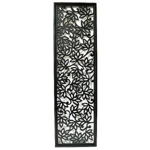 壁掛け 木彫りのレリーフ C ロータス花模様 ブラック120  [H.120.5cmx35cm] おしゃれな 壁掛け エスニック アート パネル レリーフ アジアン雑貨 インテリア|angkasa