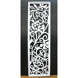 壁掛け木彫りのレリーフ E 唐草リーフ ホワイト120 [H.120.5cmx35cm] おしゃれな 壁掛け エスニック アート パネル レリーフ アジアン雑貨 インテリア angkasa
