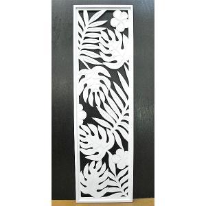 壁掛け木彫りのレリーフ F プルメリアとバナナリーフ ホワイト120 [H.120.5cmx35cm] おしゃれな 壁掛け エスニック アート パネル レリーフ アジアン雑貨 angkasa