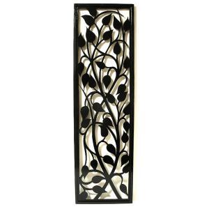 壁掛け 木彫りのレリーフ 唐草模様 ブラック120 [H.120.5cmx35cm] おしゃれな 壁掛け エスニック アート パネル レリーフ アジアン雑貨 インテリア angkasa