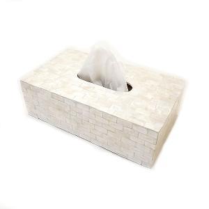 ティッシュ ケース ボックス 貝殻 シェル ペーパータオル ホルダー お洒落 インテリア パールホワイト  アジアン バリ タイ 雑貨 angkasa