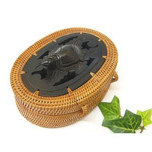 アタ 蓋付き小物入れ 木彫りの亀さん ブラック アジアン雑貨 |angkasa