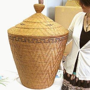 アタ 蓋つき ランドリーボックス 特大  H.70cm アジアン雑貨 |angkasa