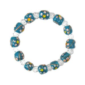 アジアン雑貨 オリジナル ブレスレット〔BLUE FLOWER〕 メンズ レディース ネコポス便対応|angkasa