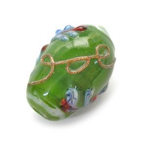 アジアン雑貨 アクセサリーパーツ ガラスのビーズ 3個入り 樽型 グリーン 青花柄 angkasa