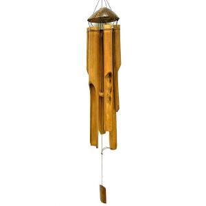 バンブーとココナッツの風鈴 竹ベル 70cm おしゃれな 風鈴  レトロな エスニック 音色 アジアン雑貨 バリ雑貨 タイ エスニック アジアンインテリア|angkasa