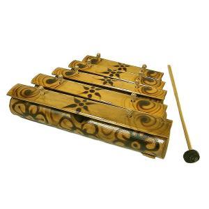 バンブーの竹琴(ガムラン) 焼き模様 5連 アジアン雑貨 バリ雑貨 アジアの楽器|angkasa
