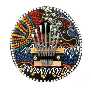 アジアの楽器 ココナッツ カリンバ 木彫り トカゲ模様 ドットペイント 直径15cm アジアン バリ タイ 雑貨 椰子の実 マリンバ 民族 演奏|angkasa