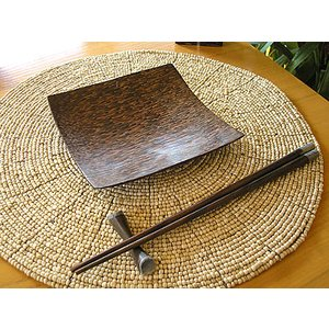 ココナッツの四角トレー Mサイズ 15cm アジアン雑貨 バリ雑貨 エスニック おしゃれなお皿 角皿 angkasa