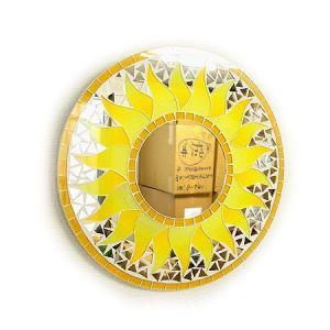 壁掛け バリ モザイクミラー 鏡 S D.30cm 丸型 黄色 太陽 丸い鏡 アジアン雑貨 バリ雑貨 おしゃれな鏡 アジアンインテリア angkasa