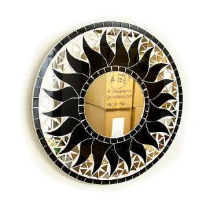 壁掛け バリモザイクミラー 鏡 S D.30cm 丸型 ブラック 太陽 丸い鏡 アジアン雑貨 バリ雑貨 タイ おしゃれな アジアンインテリア angkasa