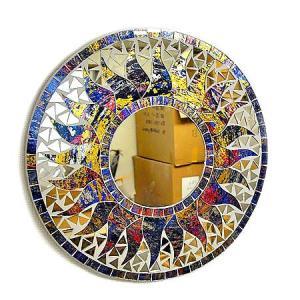 壁掛け バリモザイクミラー 鏡 S D.30cm 丸型 ブルー系・金ラメレインボー 太陽 丸い鏡 アジアン雑貨 バリ雑貨 タイ おしゃれな アジアンインテリア angkasa