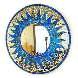 壁掛け バリモザイク ミラー M 丸型 海の色 太陽 [D.40cm] 丸い鏡 アジアン雑貨 バリ雑貨 タイ おしゃれな アジアンインテリア angkasa
