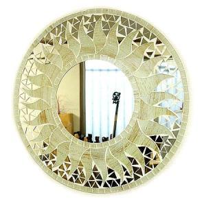 壁掛け 鏡 丸型 モザイクミラー モザイクガラス 鏡 直径40cm オフホワイト ラメ 太陽 アジアン 雑貨 バリ 雑貨 タイ 雑貨 アジアン インテリア angkasa