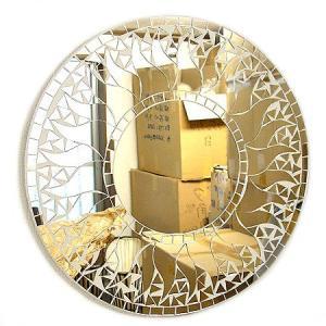壁掛け バリモザイク ミラー M 丸型 白+鏡 太陽 [D.40cm] 丸い鏡 アジアン雑貨 バリ雑貨 タイ アジアンインテリア angkasa