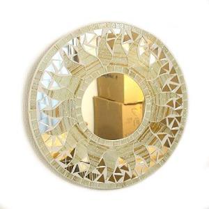 壁掛け 鏡 丸型 モザイクミラー モザイクガラス 鏡 直径30cm オフホワイト ラメ 太陽 アジアン 雑貨 バリ 雑貨 タイ おしゃれな アジアン インテリア angkasa