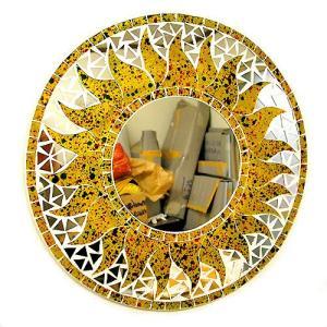 壁掛け バリモザイク ミラー M 丸型 黄色 ドット 太陽 [D.40cm] 丸い鏡 アジアン雑貨 バリ雑貨 タイ おしゃれな アジアンインテリア angkasa