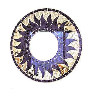 壁掛け バリモザイクミラー 鏡 S D.30cm 丸型 パープル・ドット 太陽 丸い鏡 アジアン雑貨 バリ雑貨 タイ おしゃれな アジアンインテリア angkasa