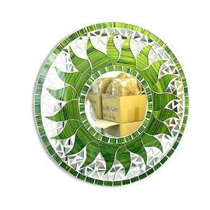 壁掛け バリモザイクミラー 鏡 S D.30cm 丸型 グリーン&ゴールド 太陽 丸い鏡 アジアン雑貨 バリ雑貨 タイ おしゃれな鏡 アジアンインテリア angkasa