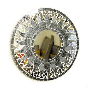 壁掛け バリモザイク ミラー 鏡 S D.30cm 丸型 グレー系シルバー ラメ 太陽 丸い鏡 アジアン雑貨 バリ雑貨 タイ おしゃれな アジアンインテリア angkasa