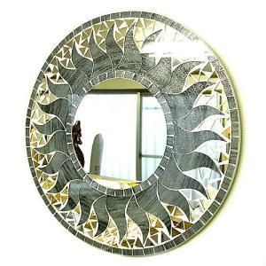 壁掛け バリモザイク ミラー 鏡 M D.40cm 丸型 グレー系シルバー 銀ラメ 太陽 丸い鏡 アジアン雑貨 バリ雑貨 タイ おしゃれな アジアンインテリア angkasa