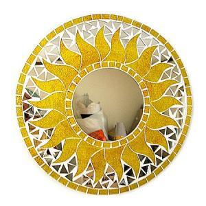 壁掛け バリモザイク ミラー 鏡 S D.30cm 丸型 黄色系ゴールド ラメ 太陽 丸い鏡 アジアン雑貨 バリ雑貨 タイ おしゃれな鏡 アジアンインテリア angkasa