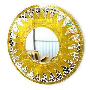 壁掛け バリモザイク ミラー 鏡 M [D.40cm] 丸型 黄色系ゴールド 金ラメ 太陽 丸い鏡 アジアン雑貨 バリ雑貨 タイ おしゃれな アジアンインテリア angkasa