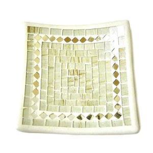 カラフルモザイクの小皿 小物入れ 四角 白・金ラメ [約16x16cm] アジアン雑貨 バリ雑貨 タイ エスニック おしゃれなインテリアトレー|angkasa