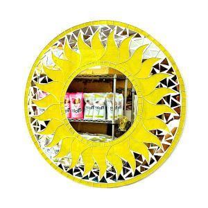 壁掛け バリモザイクミラー M 丸型 黄色A 太陽 D.40cm アジアン雑貨 バリ雑貨 タイ アジアンインテリア angkasa