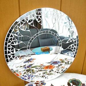 壁掛け バリモザイクミラー 鏡 S D.30cm 丸型 白+鏡 太陽 丸い鏡 アジアン雑貨 バリ雑貨 タイ おしゃれな鏡 アジアンインテリア angkasa