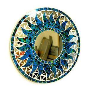 壁掛け バリモザイク ミラー 鏡 S D.30cm 丸型 濃青 海の色 ドット 太陽 丸い鏡 アジアン雑貨 バリ雑貨 おしゃれな鏡 アジアンインテリア angkasa