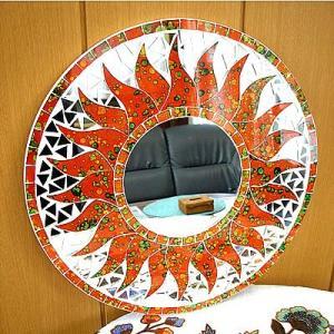 壁掛け バリモザイク ミラー 鏡 S D.30cm 丸型 オレンジ ドット 太陽 丸い鏡 アジアン雑貨 バリ雑貨 タイ おしゃれな アジアンインテリア angkasa