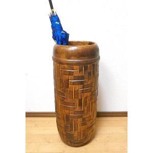 傘立て スリム おしゃれ アンティーク 木製 ブラウン アート ウッド 編み込み アジアン バリ タイ 雑貨 エスニック 木彫り インテリア 送料無料|angkasa